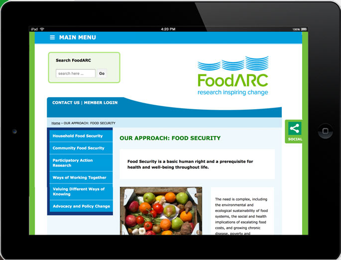 Photo - Tablet view of foodarc.ca