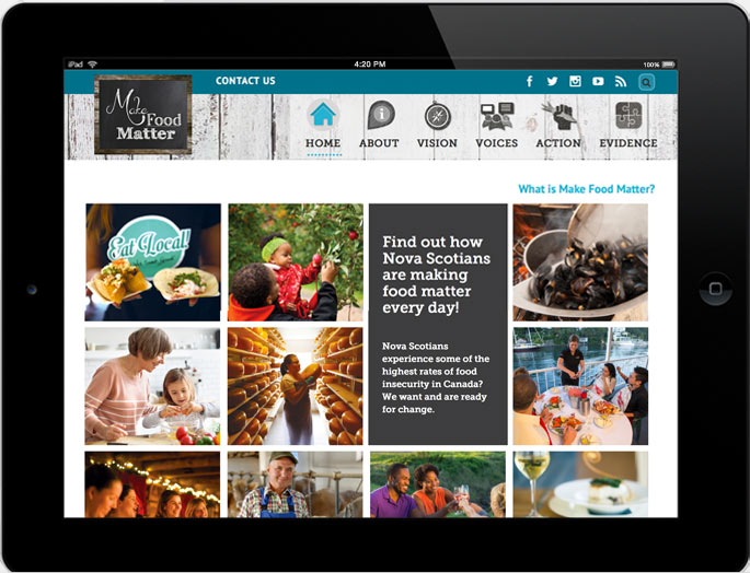 Photo - Tablet view of makefoodmatter.ca